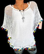 Sommertop Shirt Hippie Bommelchen white Ibiza Oversize Italy Netz Top 38 40 42