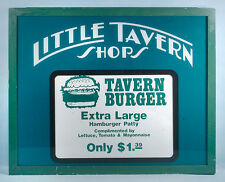 1970s Little Tavern Shops Restaurant Hamburger Sign Translucent Plastic & Metal