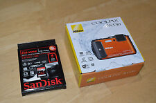 New ORANGE Nikon COOLPIX AW130 16MP Under Water Proof Digital Camera +4GB SD$349