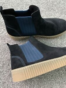 Gabor LOURDES Ladies Womens Suede Leather  Chelsea Boots Navy Uk 6 Bnwob New