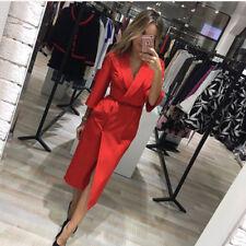 Fall Dresses Women Fashion European Style Vintage Midi Dress Red Blue Maxi Boho