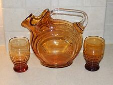 CAMBRIDGE GLASS LARGE AMBER JUG PITCHER WITH 2 TUMBLERS
