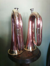 More details for pair copper and brass bugles