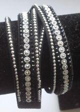 bracelet moderne 3bandes déco 2 tours cristaux clous turquoise pression A10