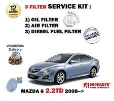 Para Mazda 6 2.2DT 16V 10/2008 - > Nuevo Kit de Filtro de aceite de filtros de combustible aire (3) Kit