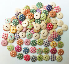 100pc Free 15mm Mixed Round Pattern 2 Holes Wood Buttons Sewing Scrapbooking New