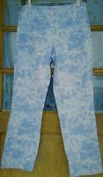 J. Jill women's pants size 2 blue/white side zip cropped cotton stretch skinny