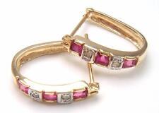 10KT YELLOW GOLD SQUARE RUBY & DIAMOND HOOP EARRINGS   E928