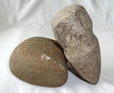 2x Hohokam New Mexico Stone Carved Full Grove Stone Axe and Rubbing Stone (Ver)
