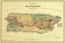 """1886 Topographic Map of Puerto Rico 11""""x16"""" Caribbean Wall Art Poster Print"""