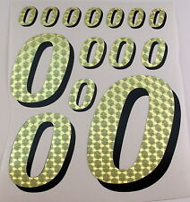 Racing Numbers Number 0 Decal Sticker Pack Gold Black for 1/8 1/10 RC models S01