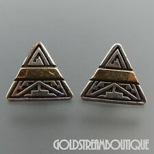 Calvin Begay Navajo 925 Silver 14K Gold Ethnic Overlay Triangle Post Earrings