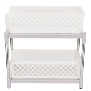 2-Layer Bathroom Sliding Basket Storage Cabinet Organizer With Pull For Home