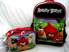 "Angry Birds Large School Backpack 16"" With Matching Angry Birds Lunch Box!"