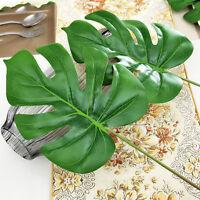 Large Artificial Monstera Branch Palm Fern Turtle Leaf Faux Foliage Leaves X9U2