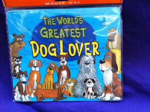 """CUTE MOUSE MAT - """"THE WORLDS GREATEST DOG LOVER"""" A GREAT GIFT ONLY £2.99 LOVELY"""