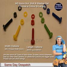 M5 Nylon Bolts, Nylon Nuts & Nylon Washers 3pc Set Slotted Pan Head Screws