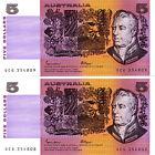 Consecutive Pair 1985 Uncirculated 5 Dollar Notes Nice Johnston Fraser