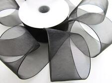 "25 yards Roll Organza Sheer 1.5"" Wide Ribbon Supply/Wedding US Seller OR15-Black"
