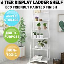 6 Tier Display Ladder Shelf Bookcase Wooden Shelving Storage Stand Rack White AU