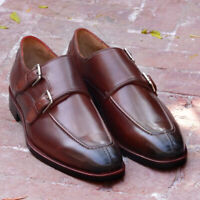 Split Toe Calf Leather Shoes Men Handmade Dress Casual Double Monkstrap Brown