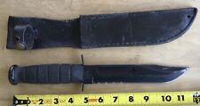"KA-BAR 1211 FIGHTING HUNTING SURVIVAL KNIFE - BLACK - 7"" BLADE w/ LEATHER SHEATH"