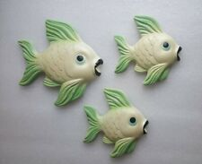 Vintage Plaster Chalkware Green Fish Wall Plaques Miller Studio Set of 3