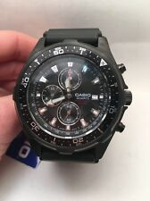 Casio AMW330B-1A1V Men's Black IP Marine Gear Chronograph Sports Diver Watch-HK