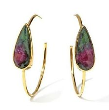 Hilary Joy Ruby Zoisite Yellow Gold Plated Over Sterling Silver Hoop Earrings