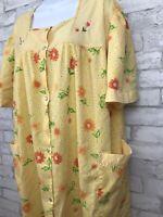 Groovy! Vintage Bernette Orange Floral Plaid with Pearl Snap House Dress Robe 3X