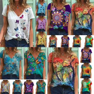 Plus Size Womens V Neck Short Sleeve Blouse Butterfly Floral Baggy T-Shirt Tops