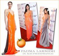 * NWT KAUFMANFRANCO Sleeveless Sequin Silk Gown SZ 10 Orange/Heather $5995