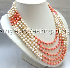 white genuine nature freshwater pearl round pink coral gold necklace 5 strands