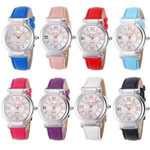 Women's girl's fashion round case roman numerals PU leather quartz wrist watch