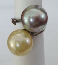 VTG Sterling Silver Ring Large Faux Pearls Statement Size 5.5 -  7.7 Grams