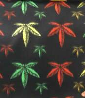 Multi Fleece Print on black Marijuana Leaf 58 Inch Wide Fabric by the Yard