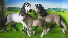 3 x NEW Schleich Pony Horse Club Andalusian Stallion 13821 + Mare + Foal Stable