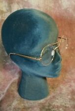 Polished Brass Gold Brow Bar Clear Large Round Lens Glasses