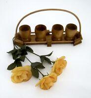 Eierbecher aus Holz mit Tablett 4 Stück Vintage