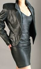 NORTH BEACH BLACK  LEATHER  COCKTAIL DRESS and JACKET  -  fits size 4- 6