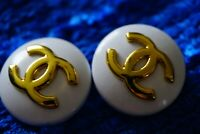 Stamped Chanel buttons 2 pieces   metal cc logo 0,8   inch 20 mm  white gold