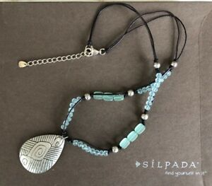 Silpada Blue Glass, Leather & Sterling Silver Pendant Necklace N2101- never worn
