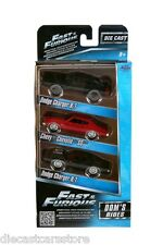 """FAST AND FURIOUS"""" DOM'S RIDES 3 PACK SET CHARGER CHEVELLE 1/55 BY JADA 97426"""