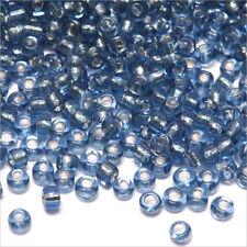 Perles de Rocailles en verre 2mm Trou Argenté Bleu Pastel env. 1600pcs (12/0)