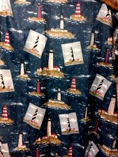 Lighthouse Shower Curtain & Ring Hooks  Red White Striped Set of 12