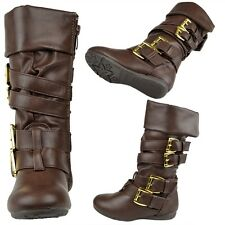 Girls Cuffed Collar Mid Calf Boots w/ Gold Strap Buckle Accent Brown Sz 9-4