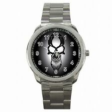 Skull Black and White Skeleton Accessory Stainless Steel Sport Watch New!