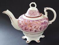 Sunderland pink lustre vintage Victorian antique large teapot