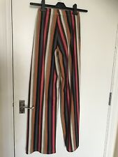 Stripe Culotes Long Trousers Wide Leg Pants Size UK 8 Coloured Disco Summer