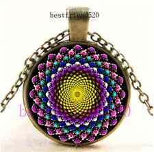 Vintage Bling Sacred Geometry Cabochon Glass Bronze Chain Pendant Necklace